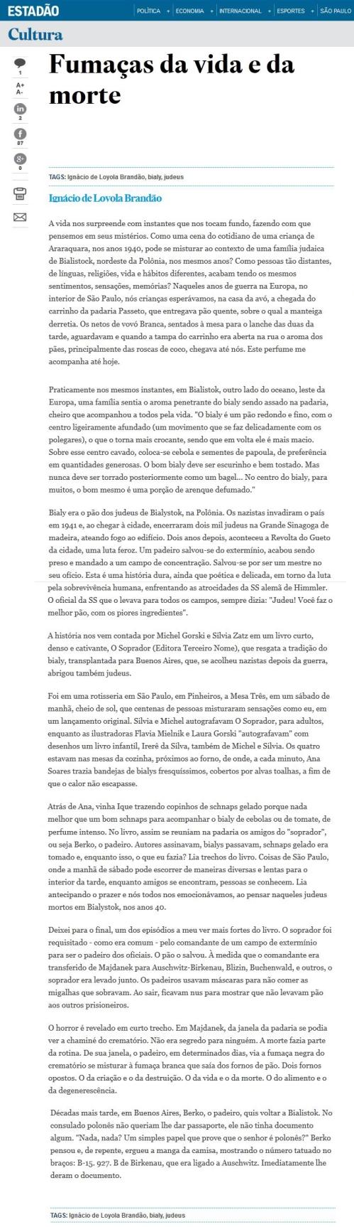 O Estado de S Paulo - Ignácio de Loyola Brandão - 19set2014